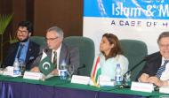 Left to Right Sahibzada Sultan Ahmad Ali (Chairman, MUSLIM Institute), His Excellency Mr. Istvan Szabo (Ambassador of Hungary to Islamic Republic of Pakistan), Ambassador (R) Ms Fauzia Nasreen, Head (Department of Center for Policy Studies, COMSATS Institute of Information Technology, Islamabad), & Ambassador (R) Dr. István Gyarmati (President at International Centre for Democratic Transition, Hungary